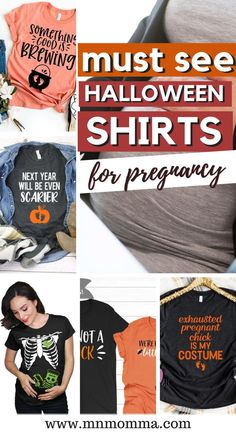 Halloween T-shirts for Pregnant Women. If you've been looking for a great way to dress up for Halloween - these maternity shirts are perfect! Whether it's for couples or just for an expecting mom herself, you'll love these festive Halloween and fall tshirts. If you're looking for a pregnancy Halloween costume - these also make for great, easy costume ideas! And the best part? They're super comfortable! #pregnancy #halloween #maternityshirt #costumeideas Halloween Pregnancy Shirt, Pregnant Halloween Costumes, Easy Costumes, Halloween Shirt, Costume Ideas, Kid Halloween, Pregnant Diet, Pregnant Shirts, Maternity Shirts