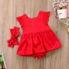 New Newborn Baby Girls Infant Clothes Ruffle Red Lace Romper Dress Baby Girls Princess Kids Party Dresses Cotton Baby Costume Red Romper, Ruffle Romper, Romper Dress, Baby Girl Romper, Baby Girl Dresses, Baby Girl Newborn, Baby Dress, The Dress, Baby Girls