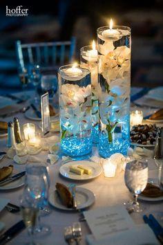 centerpieces Beach Wedding Centerpieces, Beach Wedding Reception, Engagement Party Decorations, Lakeside Wedding, Wedding Table Decorations, Candle Centerpieces, Centerpiece Decorations, Aqua Wedding, Diy Wedding