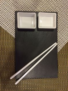 Streamlined simplicity - Porcelain and natural slate sushi set from The Just Slate Company.