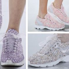 Chanel couture 2014 tweed sneakers with transparent laces!