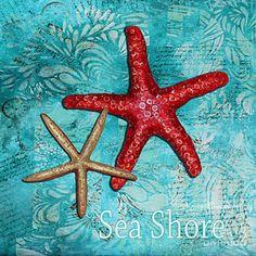 Marine Life Painting - Sea Shore Original Coastal Painting Colorful Starfish Art By Megan Duncanson by Megan Duncanson