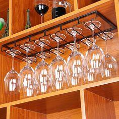 Under Cabinet Wine Glass Stemware Rack Holder Hanger for Kitchen Home Bar Hanging Wine Glass Rack, Wine Glass Shelf, Glass Shelves Kitchen, Wine Glass Holder, Hanging Racks, Bar Design, Wine Cabinets, Kitchen Cabinets, Bar Kitchen