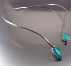Chic Magnesite Loop Necklace,  Modern and elegant handmade turquoise magnesite necklace in minimalist style