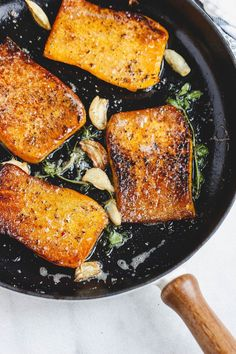 Garlic Butter Butternut Squash Steaks - - Garlic Butter Butternut Squash Steaks – Melt-in-your-mouth tender and packed with flavor! Just like the classic steakhouse butter-basting technique, these pan seared butternut squash steaks a…. Vegetable Recipes, Vegetarian Recipes, Cooking Recipes, Healthy Recipes, Grilling Recipes, Cooking Ribs, Lentil Recipes, Healthy Dishes, Potato Recipes