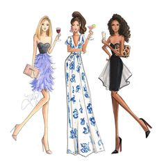"""""""""""Happy Hour"""" print is now available in 5x7"""", 8x10"""", and 11x14""""!  hnillustration.etsy.com #prints #fashionsketch #fashionillustration #happyhour…"""""""