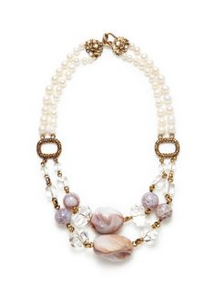 Stephen Dweck | Rock Crystal, Pink Shell, & Fire Agate Double Strand Pearl Necklace