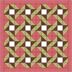 The quartered star quilt block is a simple 9 patch block which makes a delightful quilt with a grid forming across the background fabric.