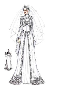 Sketch of Modern Kebaya Muslim Wedding Gown, Hijab Wedding Dresses, Fashion Illustration Sketches, Fashion Sketches, Croquis Fashion, Hijab Look, Fashion Drawing Dresses, Arab Women, Fashion Figures