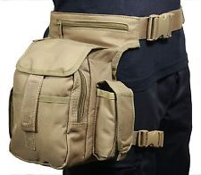 Coyote Canvas TACTICAL WAIST MULTI PACK with LEG STRAP - Airsoft Hunting Hip Bag