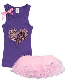 Girls Clothing, Purple Tank Top, Pink Cheetah Heart, Pink Girls Tutu, Girls Birthday, Dress up, Layered Tutu, 2 piece Set, Girls outfit by BubbleGumDivas on Etsy