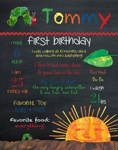 Very Hungry Caterpillar Birthday Stats - Digital File