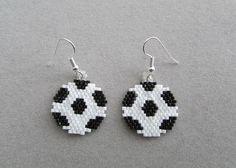 Soccer Ball Earrings in Delica Beads by DsBeadedCrochetedEtc, $16.00