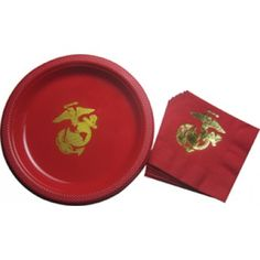 12 Pc. Plate and Napkin Set   Party Supplies   Special Events   Sgt Grit - Marine Corps Store