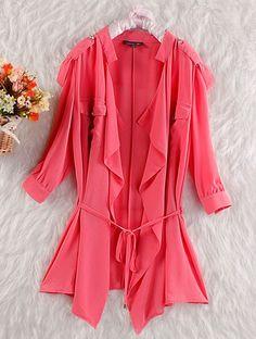 Red Casual Lapel Half Sleeve Loose Silk Sweater