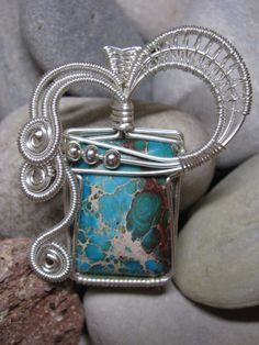 Wire Wrapped Turquoise Pendant. $38.00, via Etsy.