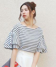 The Virgnia(ザ ヴァージニア)の《予約》ラッフルスリーブプルオーバー(Tシャツ/カットソー)|その他 Fashion Sewing, Knit Fashion, Fashion Outfits, Womens Fashion, Fashion Trends, Simple Outfits, Kids Outfits, Cute Outfits, Japan Fashion