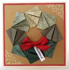 Teabag fold wreath on a Handmade Card