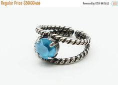 SUMMER20 Swarovski crystal summer blue adjustable split shank braided statement coctail ring