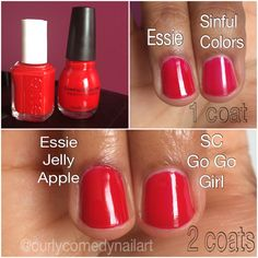 Essie Jelly Apple vs Sinful Colors