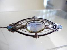 彫金オパール、水晶七宝細工帯留め、5.7x2.2cm