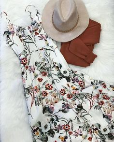 2017 SPRING & SUMMER FASHION TRENDS! Ask your Stitch Fix stylist for items like this when you sign up today by clicking on the pic & filling out your style profile. Only $20 to have your own stylist! #affiliate #stitchfix floral boho maxi dress, hat and jacket. white floral print