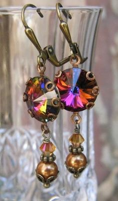 New Swarovski Volcano Rivoli Crystal/Bronze by HisJewelsCreations, $22.00