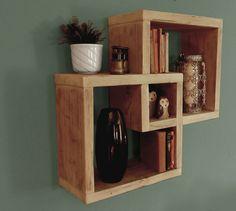 interlocking cube shelf made from scaffold planks