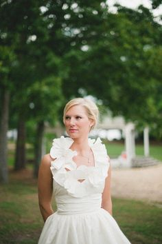 Ruffled collar ball gown. Amsale. Photography by spindlephotography.com