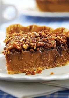 Always love a new Pumpkin-Pecan Pie recipe .each slice offers up the best of both worlds: creamy pumpkin custard and crunchy caramelized pecan praline Pumpkin Pecan Pie, Pumpkin Custard, Pumpkin Pie Recipes, Pumpkin Dessert, Pecan Pies, Pecan Cobbler, Spiced Pumpkin, Pumpkin Pumpkin, Pecan Recipes