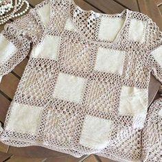 Diy Crafts - -Crochet Sweater Blanket Granny Squares 65 Ideas For 2019 crochet Débardeurs Au Crochet, Gilet Crochet, Crochet Jumper, Mode Crochet, Crochet Fabric, Crochet Quilt, Crochet Jacket, Crochet Woman, Crochet Blouse
