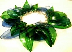 ECO SPRING - Recycled PET Plastic Bottle Bracelet in Melted Media - Recycled CDs, DVDs, and other fun melty stuff