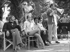 Burt Lancaster, Romy Schneider, Alain Delon and Luchino Visconti on the set of  Il gattopardo directed by Luchino Visconti, 1963