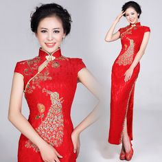Red Long Cheongsam / Qipao / Chinese Wedding Dress - Qipao ...