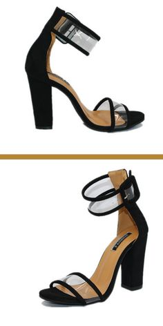 9bb3f8623d5 Shoe Box High Block Heel Ankle Strap Sandals in 2019