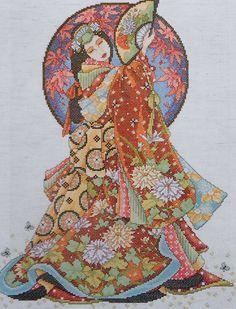 Joan Elliott Geisha ORIENTAL LADY WISDOM Asian - Counted Cross Stitch Pattern Chart - fab. $6.75, via Etsy.