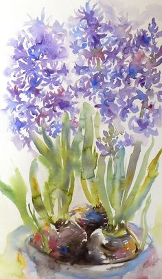 Sur cette oeuvre on peut voir des hyacinthes faite à l'aquarelle. On retrouve plusieurs couleurs comme du vert, du bleu, du violet et du brun. j'aime beaucoup l'effet estomper que donne la peinture aquarelle ainsi que les teintes utilisés.