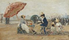 Boudin, Eugene, (1824-1898), The Beach at Trouville, 1884, Oil