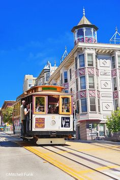 Cable Car Passing Victorian House On Powell Street, San Francisco By Mitchell Funk www.mitchellfunk.com