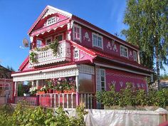Painted wooden house in Russia