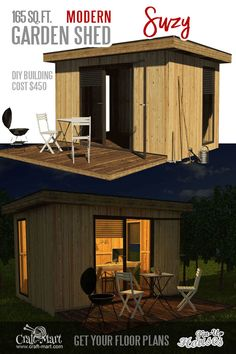 Who doesn't need a garden shed? Suzy is one natural, modern, elegant wooden shed that you can modify as you like after building it. Don't fall for the toxic plastic shed from your local hardware stores! Micro House Plans, A Frame House Plans, Shed Floor Plans, Diy Shed Plans, Small House Plans, Building A Storage Shed, Building Costs, Building Design, Garden Shed Diy