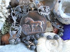 Dutch   Antique Draft Horse Medal Thistle Assemblage Necklace by HappyMoonDesigns on Etsy