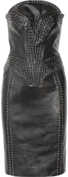 Crystal embellished Leather Dress  Versace