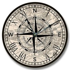Compass Rose with old Map pattern wall CLOCK - nautical home decor - 7131 in Home & Garden,Home Décor,Clocks | eBay