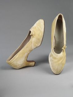 Pair of wedding shoes, Philippines. Wax Flowers, 1930s Fashion, Bridal Style, Wedding Shoes, Kitten Heels, High Heels, Stockings, Bling, Pairs