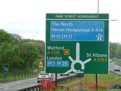 The junction at park street for the now downgraded motorway Motorway Signs, Hemel Hempstead, St Albans, Watford, Akira, Roads, England, London, Map