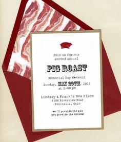 Pig Roast Invite by bbinvitations on Etsy, $3.50
