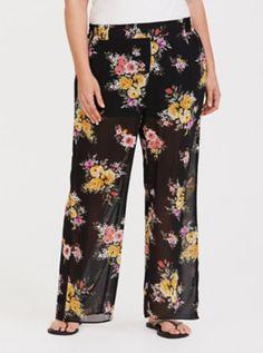 f8c307ece44 Black Floral Chiffon Pant. Chiffon PantsSheer ChiffonFloral ChiffonSkirt PantsPlus  Size ...