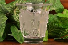 Lalique Crystal 1980 Saumur Grapes and Leaves Vase