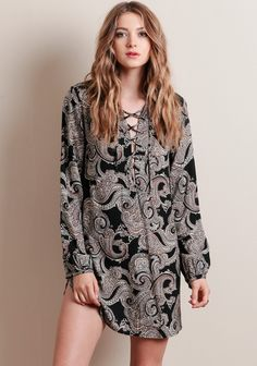 Stella Lace-Up Paisley Dress - Dresses - Clothing | ThreadSence